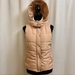 Bebe Quilted Vest Sherpa Collar and Attached Hood
